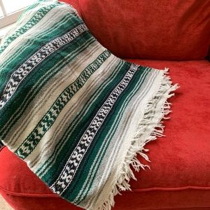 Other - Green and white Mexican blanket serape